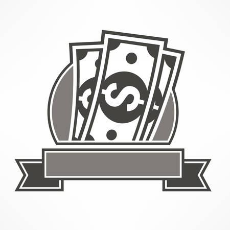 bank notes: Paper bank notes, money signs on grey & ribbon, vector illustration
