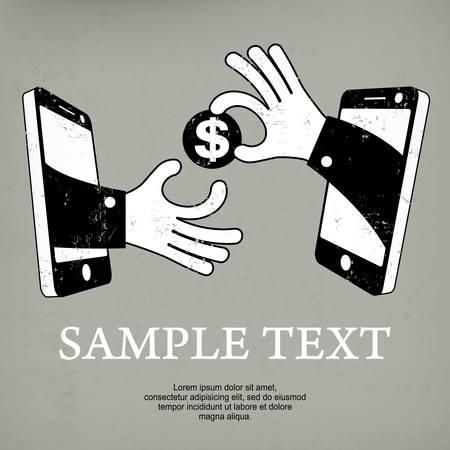 fast money: Fast money and mobile equipment in hand, vector illustration Illustration