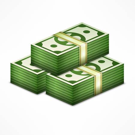 Stapels geld stapel, contant geld dollar op wit, vector illustratie