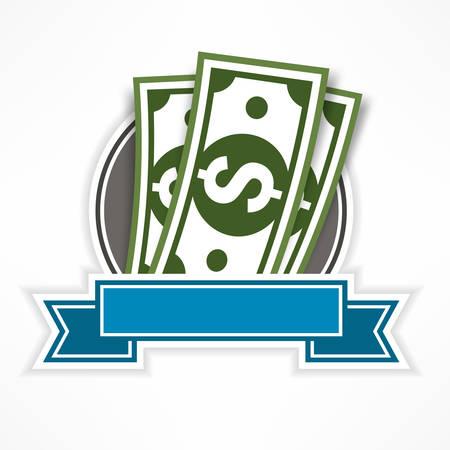 bank notes: Paper bank notes, money signs & ribbon, vector illustration Illustration