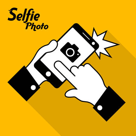 yellow photo: Selfie phone photo in yellow, vector illustration