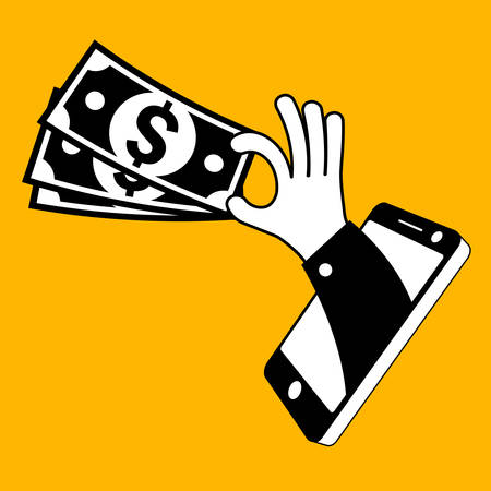 hand phone: Fast money and mobile equipment in hand, vector illustration Illustration