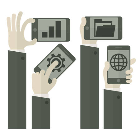 team hands: Team business concept, hands with tablets & phones, vector illustration
