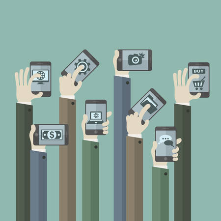 team hands: Team business concept, hands with phones, vector illustration