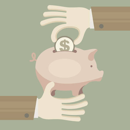 economical: Piggy coin bank in hand, economical vector illustration