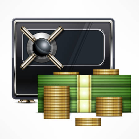 piles: Safety concept for business, piles of money and coins, vector illustration