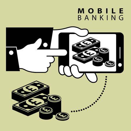 hands holding sign: Mobile banking, phone device and pond cash, vector illustration