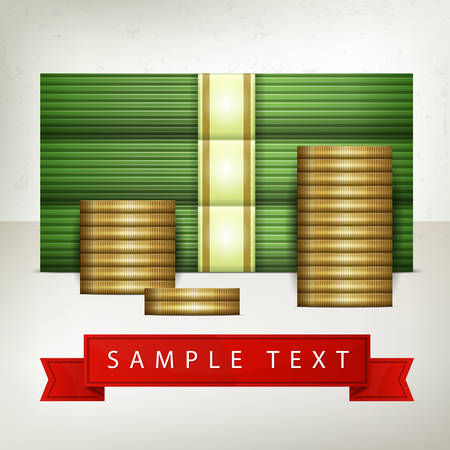 stack of cash: Piles of money stack, cash dollar and gold coins, vector illustration