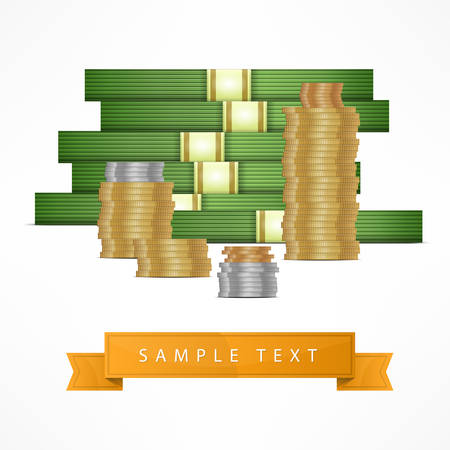 money stack: Piles of money stack, cash dollar and gold coins, vector illustration