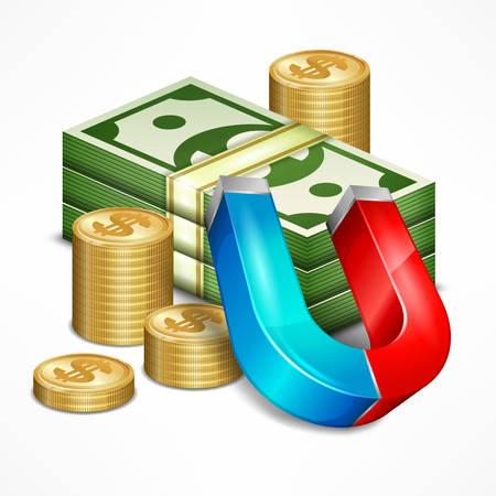 iman: Concepto de acumulación para los negocios, el dinero con el imán, ilustración vectorial Vectores