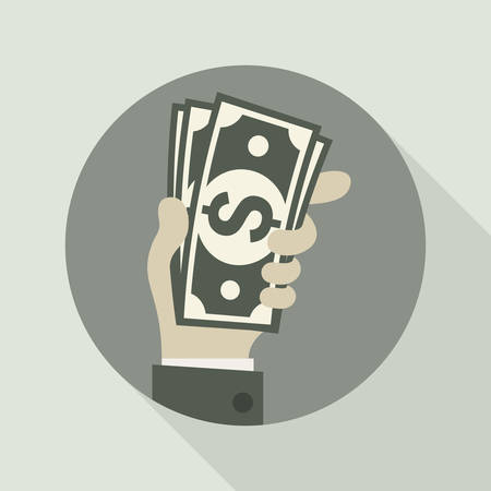 bank notes: Paper bank notes, money signs in hand, illustration Illustration