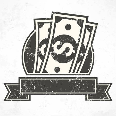 bank notes: Paper bank notes, money signs in grey, illustration Illustration