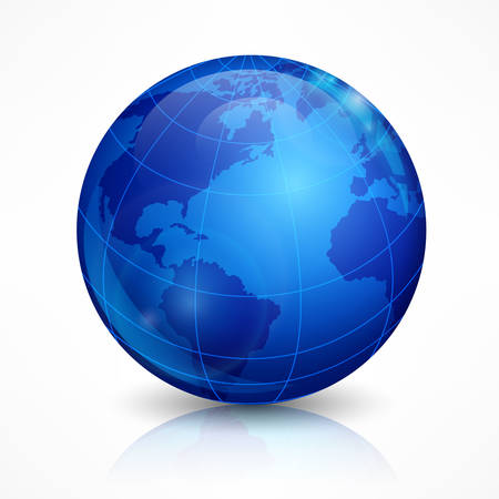 blue sphere: Globe, blue sphere Earth on white, illustration