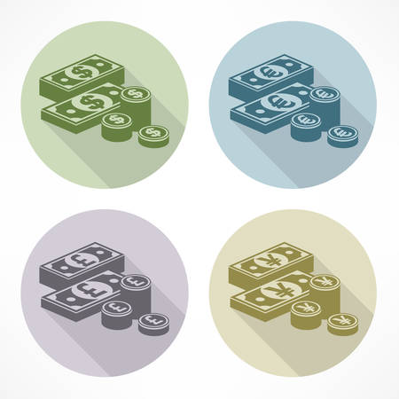 pile of money: Pile of money stack, banknotes and coins, illustration