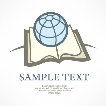 book concept: Globe on book, science concept illustration