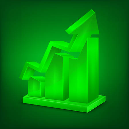 up arrow: Chart icon, arrow up statistic sign in green illustration