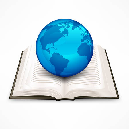 blue sphere: Globe, blue sphere Earth on book Illustration