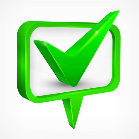 green check mark: Green check mark on white, illustration