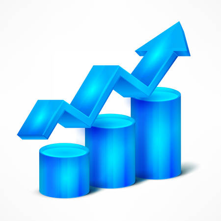 statistic: Statistic blue chart with arrow on white, vector illustration