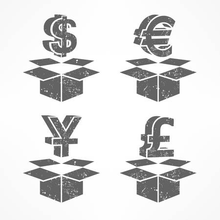 money boxes: Money signs in open boxes in grey, vector illustration