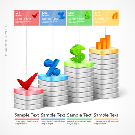 indication: Infographic, indication chart elements & text, vector illustration