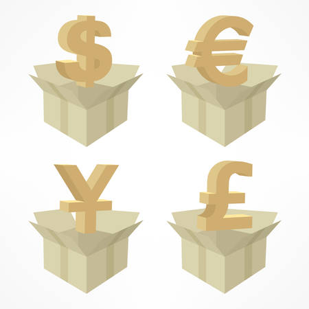 money boxes: Money signs in open boxes on white, vector illustration