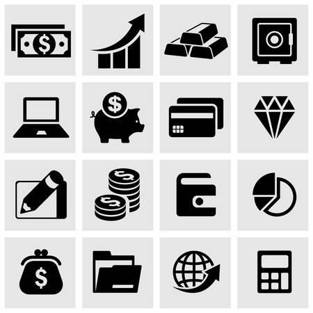 Infographic money symbol set in grey, vector illustration