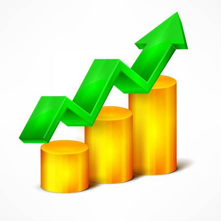 indication: Statistic indication element & arrow on white, vector illustration