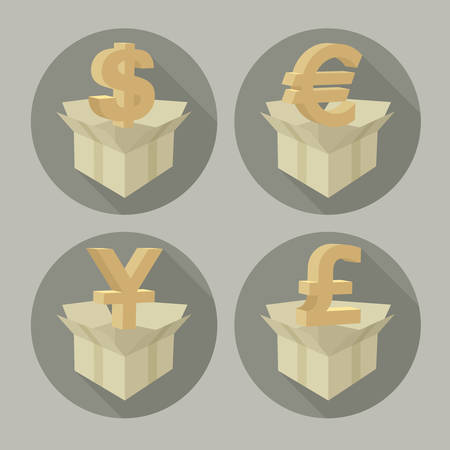 money boxes: Money signs in open boxes on grey, vector illustration