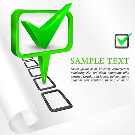 green check mark: Green check mark on white, vector illustration
