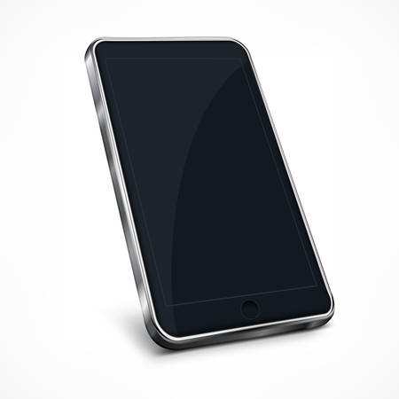 phone vector: Realistic mobile phone on white, vector illustration