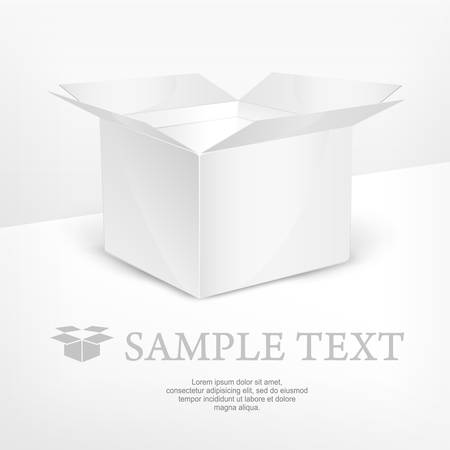 box open: Realistic open box and text on white, vector illustration