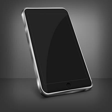 Realistic mobile phone on black, vector illustration
