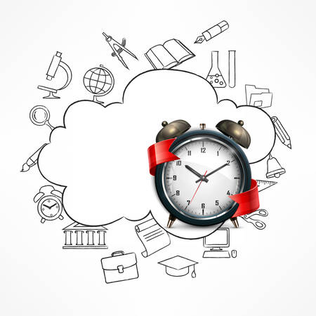 School time, alarm clock and sketch items on white, vector illustration Illustration