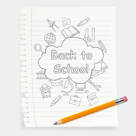 Freehand school illustration & pencil, vector sketch icons on white