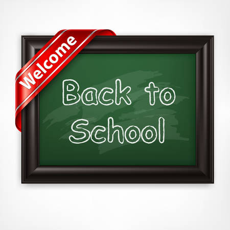 inscribe: Blackboard with back to school inscribe, vector illustration