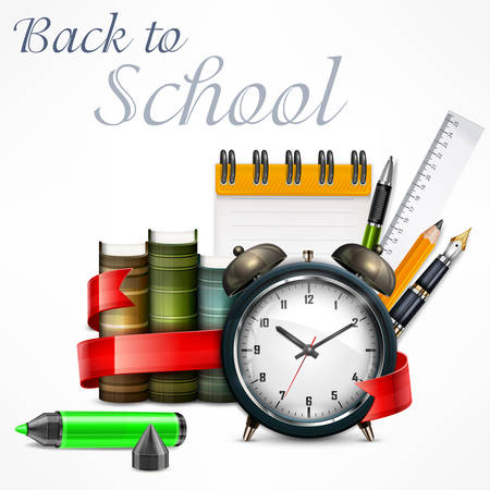 School time, alarm clock and school items on white