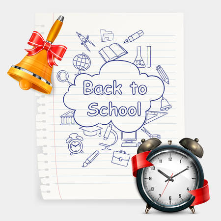 School time, alarm clock and sketch items on white, illustration