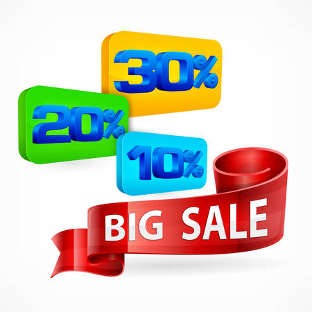 commercial sign: Big sale inscription on color label & ribbon on white, vector illustration