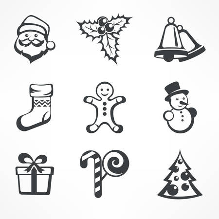 christmas winter: Christmas icon set in grey color on white, vector illustration