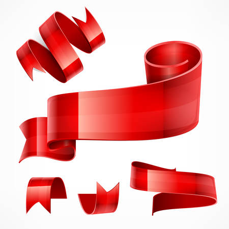 badge with ribbon: Set of red ribbons on white, vector illustration Illustration