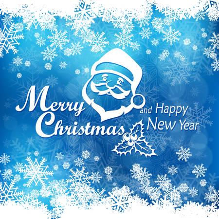 Mary Weihnachtsplakat auf Blau. Neujahr Design-Elemente, Winterferien Banner, Vektor-Illustration Vektorgrafik