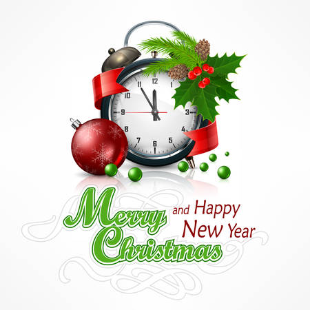 midnight time: New Year click on white with holly berry branch. Marry Christmas object, vector illustration