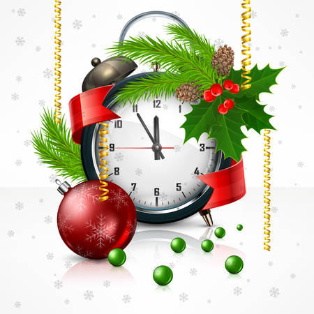 time of the year: New Year clock on white with holly berry branch Christmas. Christmas time, vector illustration