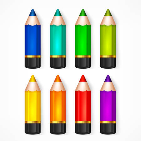 color pencil: Color rainbow wooden pencils, set of pencil for school and office, colored crayons concept, vector illustration Illustration