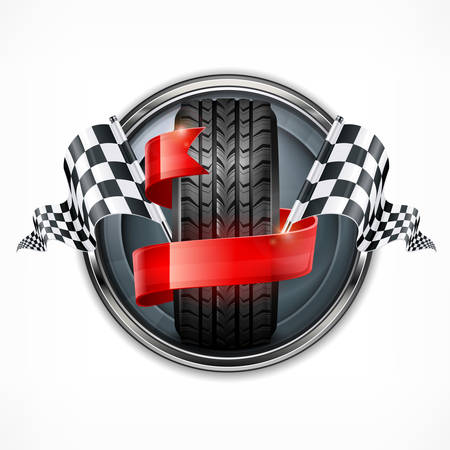 Racing emblem, rubber wheel, crossed checkered flags and red ribbon in metallic round on white. Vector illustration