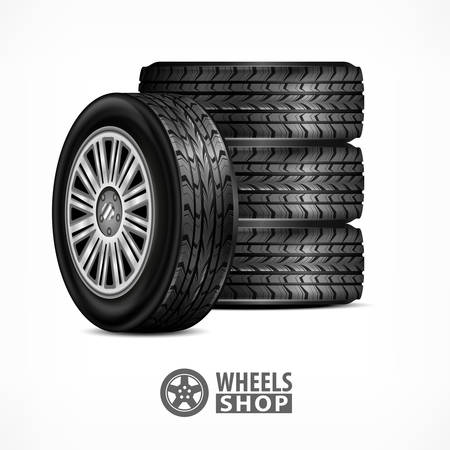 car wheels: Different car black new rubber wheels on white background. Tyres and wheels for racing concept. Vector illustration