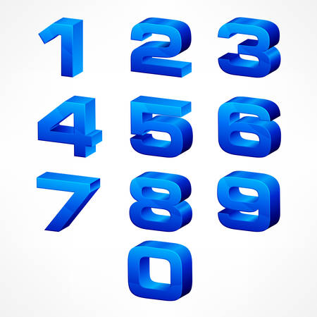 Alphabet isometric numbers, set of vector numbers from 1 to 0 in blue color on white. Vector illustration.