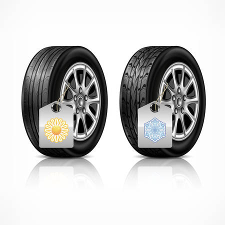 car wheels: Season different car black new rubber wheels on white background. Tyres and wheels with season protect concept. illustration Illustration
