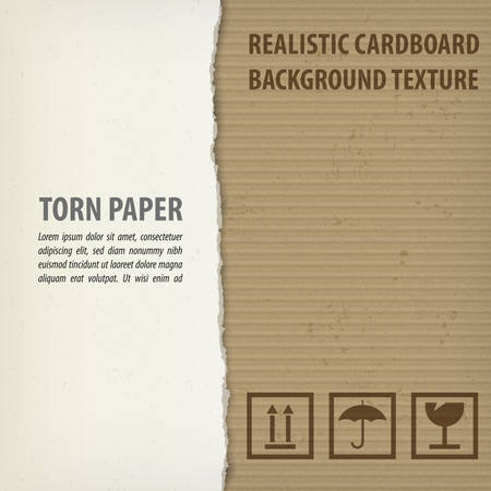 torn cardboard: Torn cardboard pieces with space for text, craft textured, precentation concept. illustration